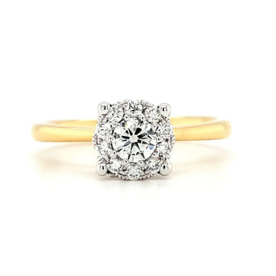 18ct Gold Halo Solitaire Diamond Engagement Ring