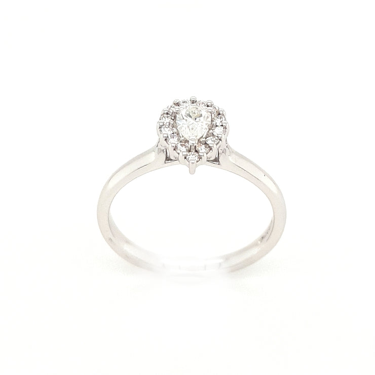 18ct White Gold Pear Halo Engagement Ring