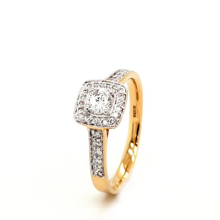 18ct Gold Diamond 0.41ct Cluster Enagagement Ring