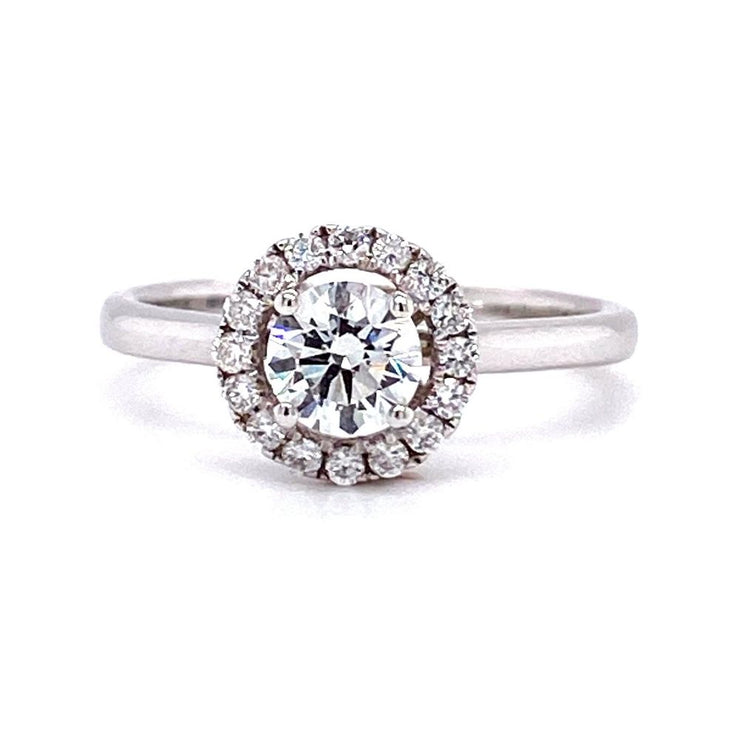 18ct White Gold Round Halo Engagement Ring