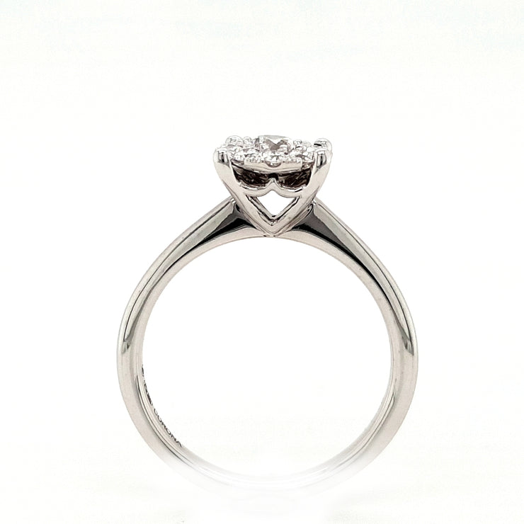18ct White Gold Round Diamond Cluster Engagement Ring