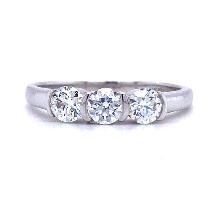 Platinum Three Stone Tension Set Engagement Ring