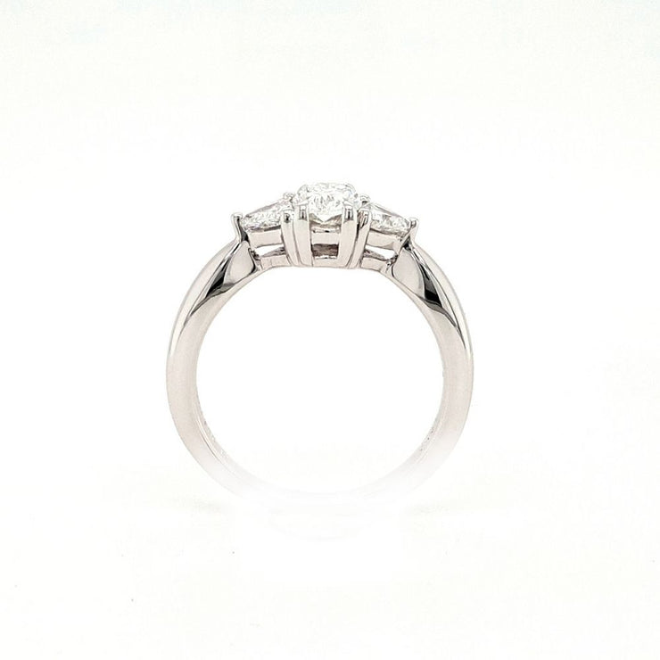18ct White Gold Oval and Trillion Diamond Engagement Ring