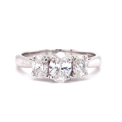 18ct White Gold Oval Three Stone 1ct Engagement Ring