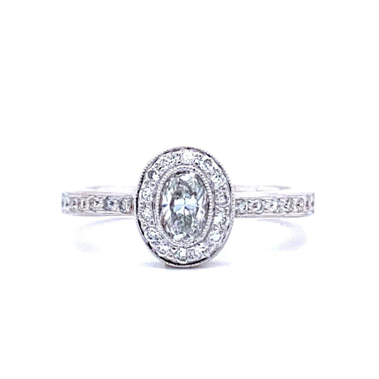18ct White Gold Oval Halo Engagement Ring