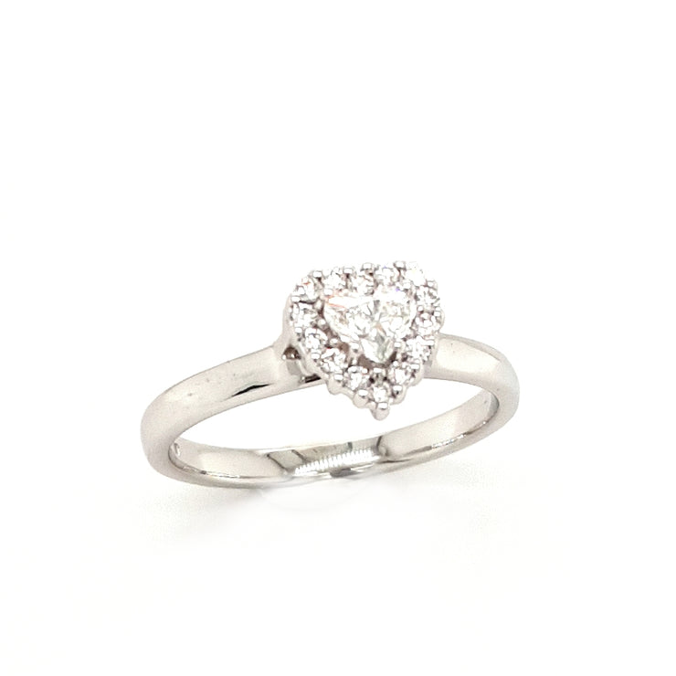 18ct White Gold Heart Diamond Engagement Ring