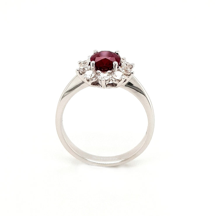 18ct White Gold Ruby and Diamond Cluster Engagement Ring