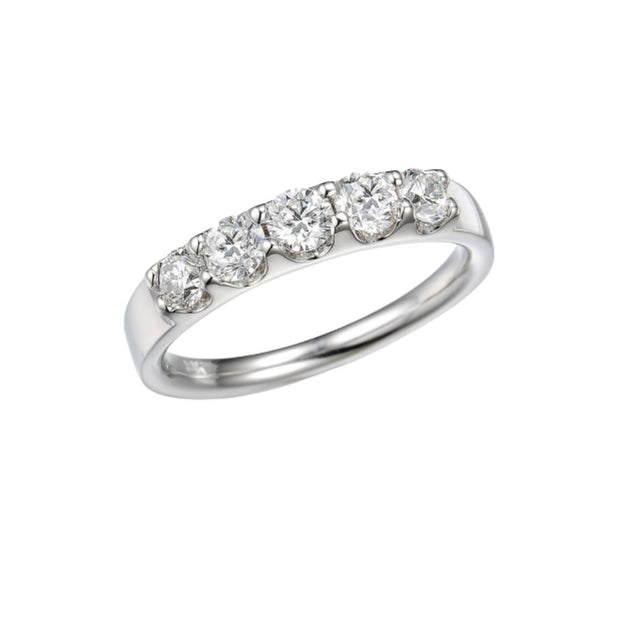 18ct White Gold Diamond 0.97ct 5 Stone Eternity Ring