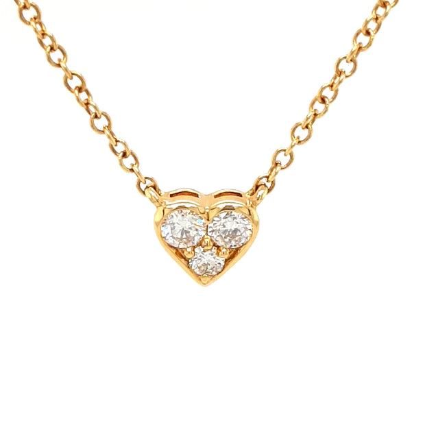 18ct Gold Diamond Heart Necklace