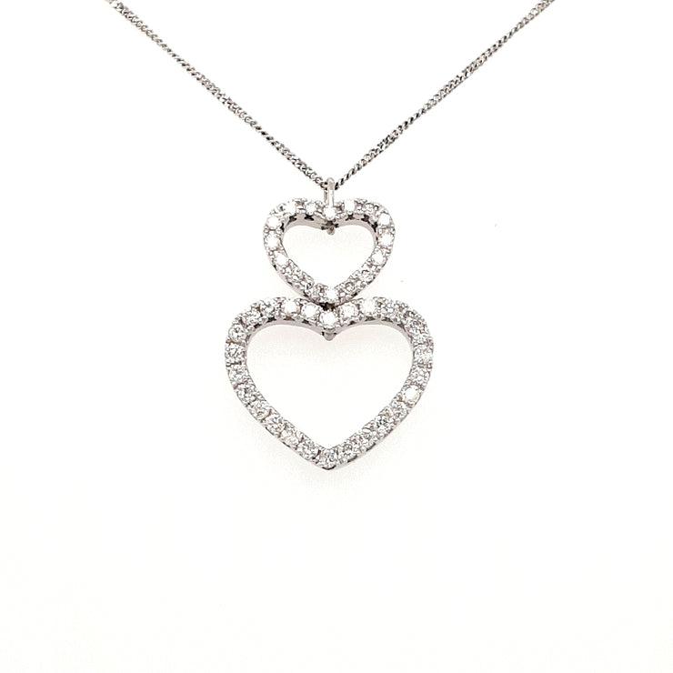 18ct White Gold Double Heart Diamond Necklace