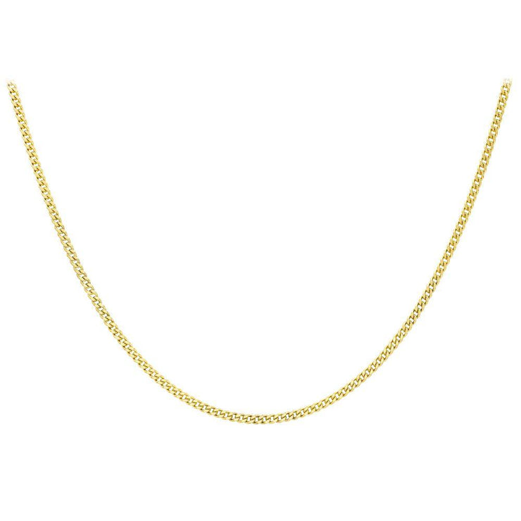 "9ct Gold Diamond Cut Curb 18"" Chain"
