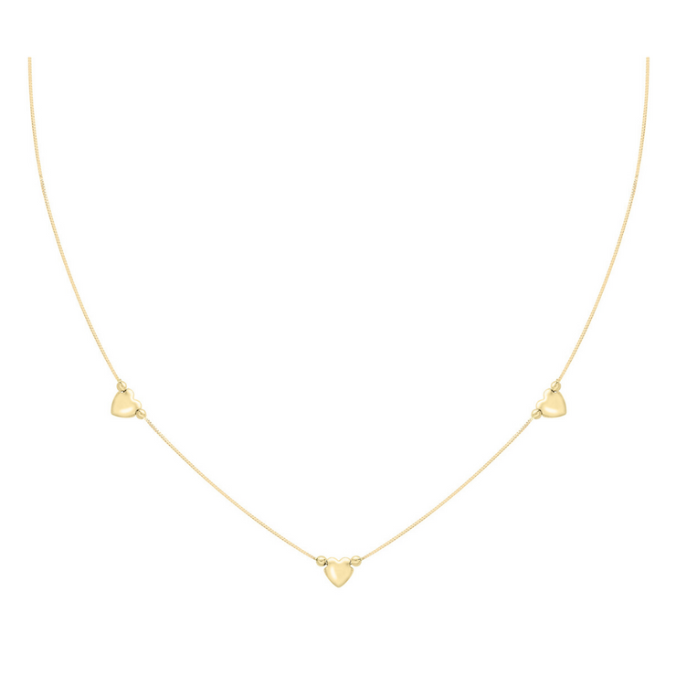 9ct Gold 3 Hearts Necklace