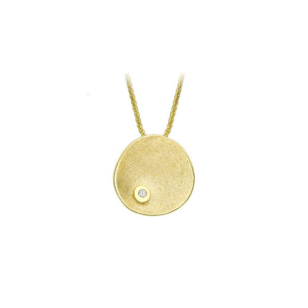 9ct Gold Brushed Organic Disc Necklace