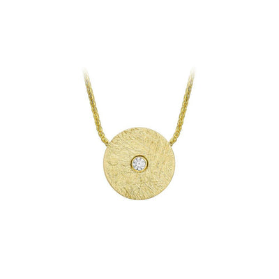 9ct Gold Brushed Disc CZ Necklace