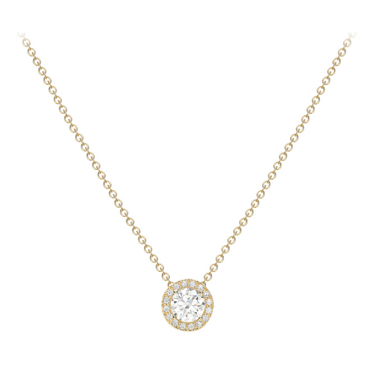 9ct Gold CZ Halo Necklace