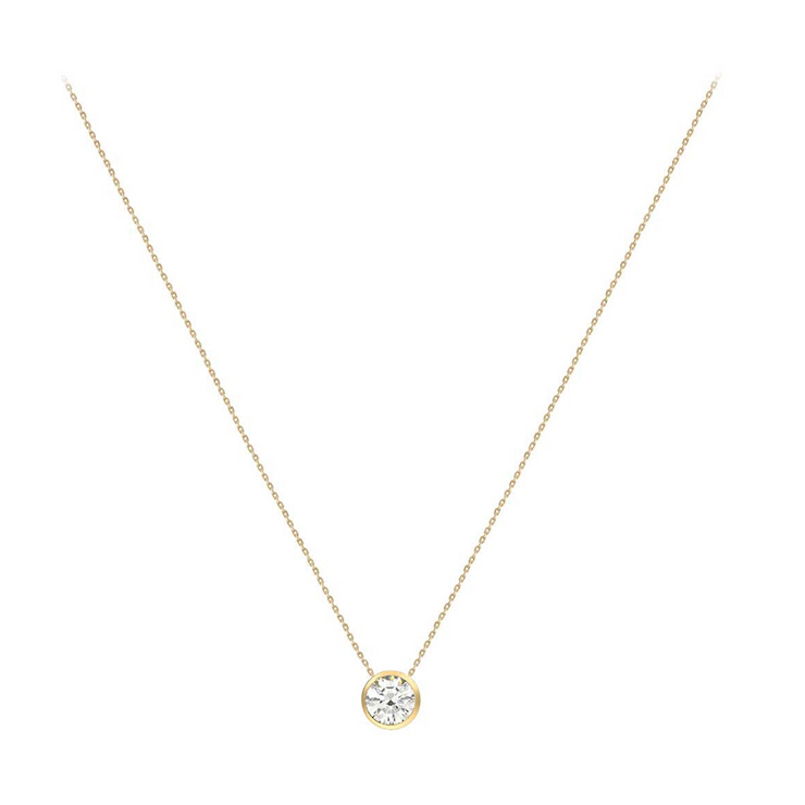 9ct Gold Round CZ Necklace