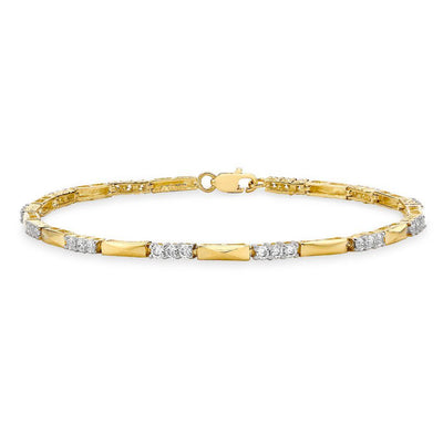 9ct Gold CZ Bar Bracelet