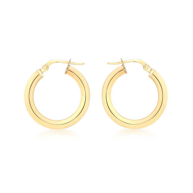 9ct Gold Round Creole Hoop Earrings