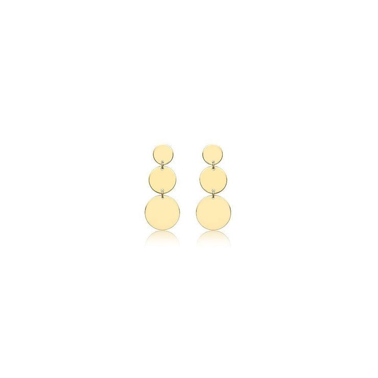 9ct Gold 3 Graduated Disc Drop Earrings