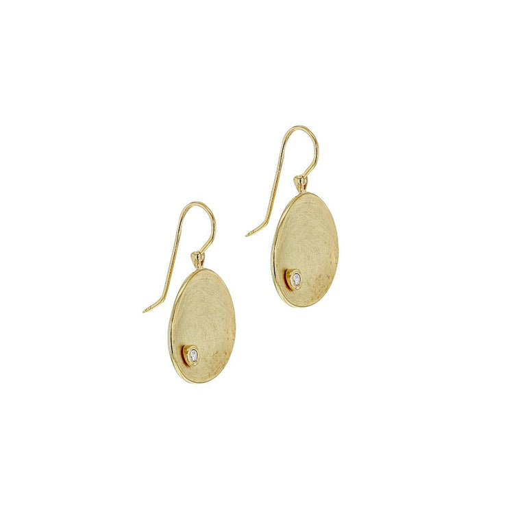 9ct Gold Brushed Disc Drop Earrings
