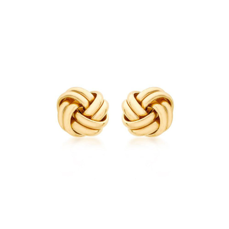 9ct Gold Double Knot Large Stud Earrings