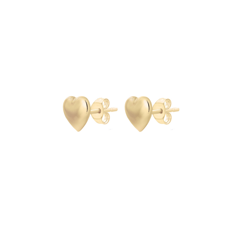 9ct Gold Heart Stud Earrings