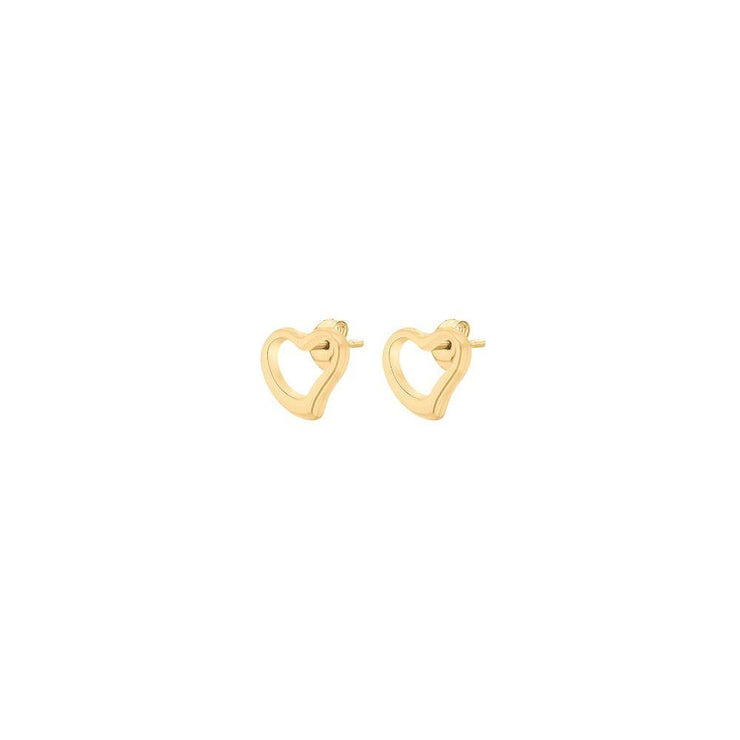 9ct Gold Open Heart Stud Earrings