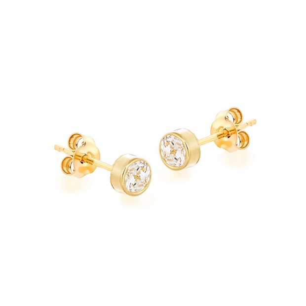 9ct Gold Small Round CZ Stud Earrings
