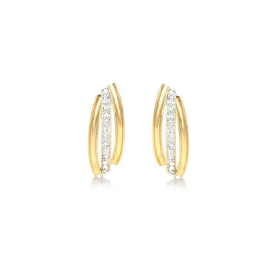 9ct Gold CZ 3 Row Earrings