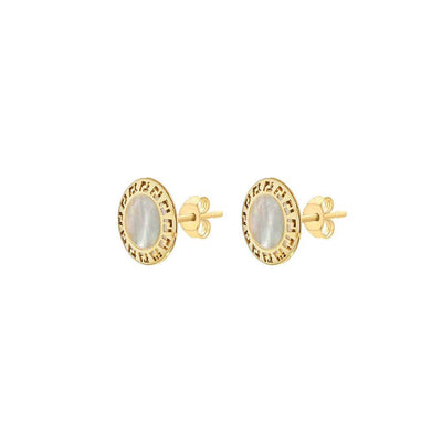 9ct Gold Mother of Pearl Round Stud Earrings