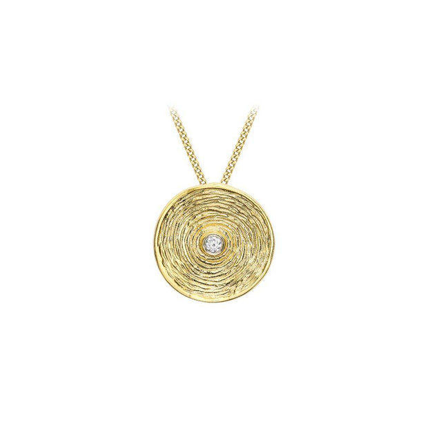 9ct Gold Round Disc CZ Necklace