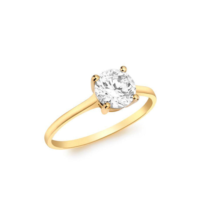 9ct Gold CZ Solitaire Ring