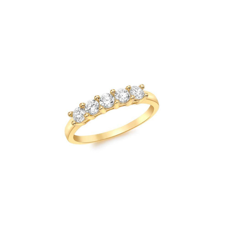 9ct Gold CZ 5 Stone Ring