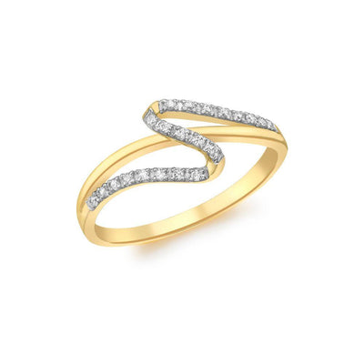 9ct Gold CZ Wave Ring