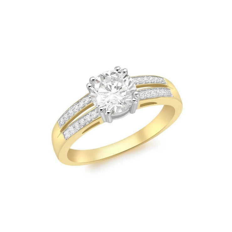 9ct Gold CZ Solitaire with CZ Shoulders Ring