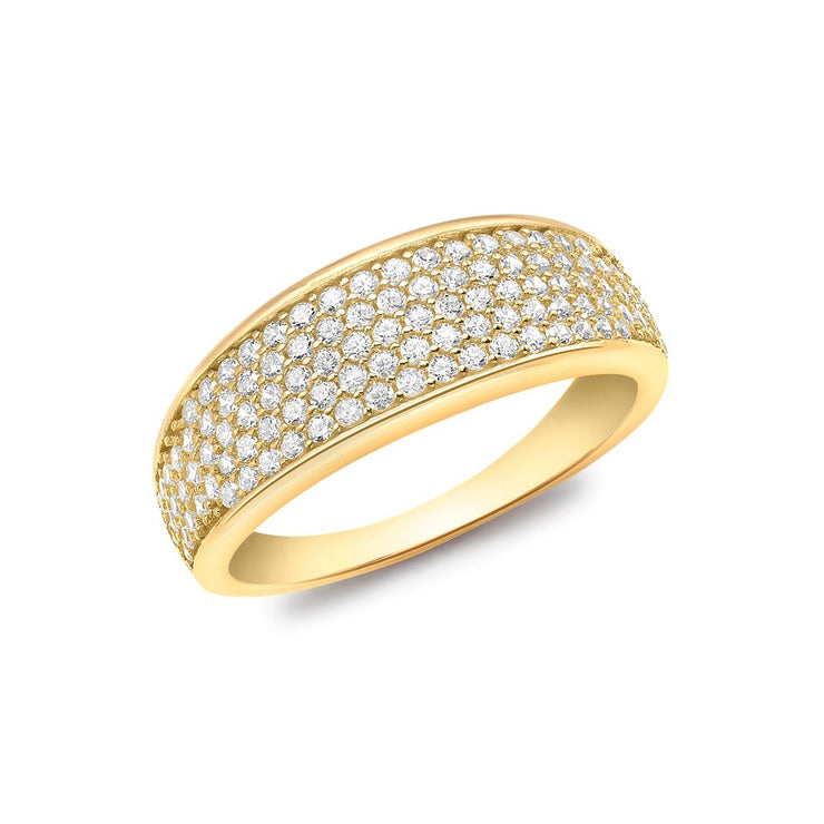 9ct Gold CZ Pave Wide Tapered Ring