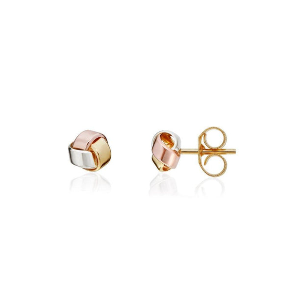 9ct Three Colour Gold Stud Knot Earrings