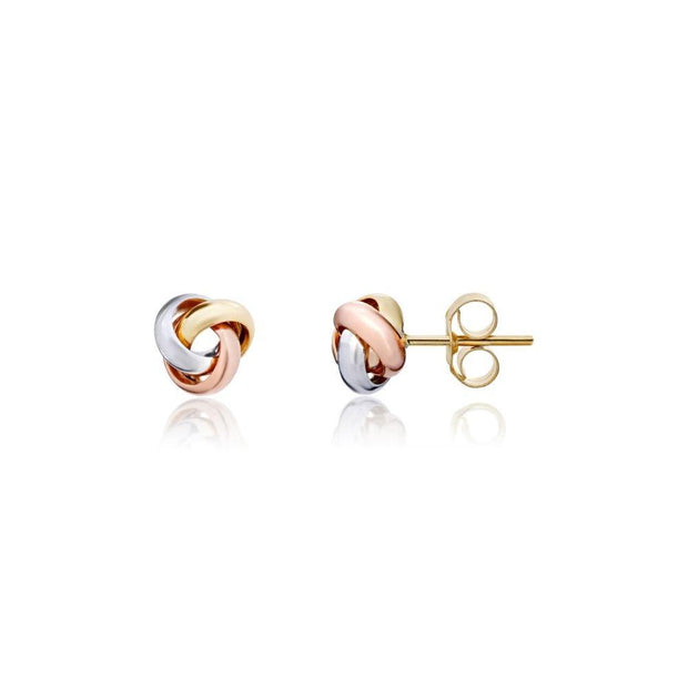 9ct Three Colour Gold Knot Earrings