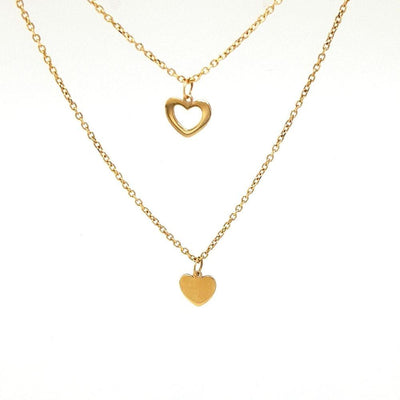 14ct Gold Heart Double Necklace