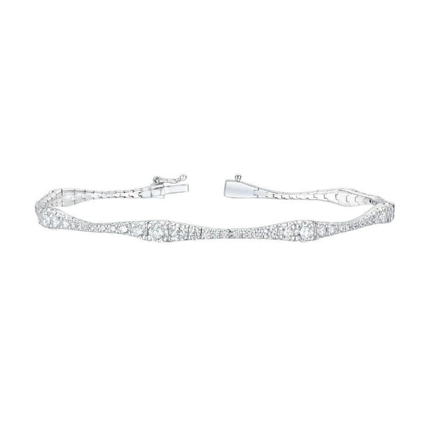 18ct White Gold and Diamond Wavy Bracelet