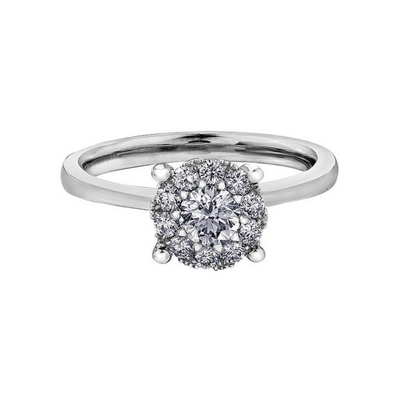 18ct White Gold Halo Diamond 0.26ct Engagement Ring