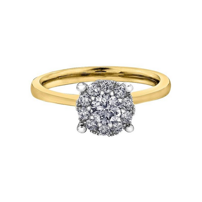 18ct Yellow Gold Halo Diamond 0.52ct Engagement Ring