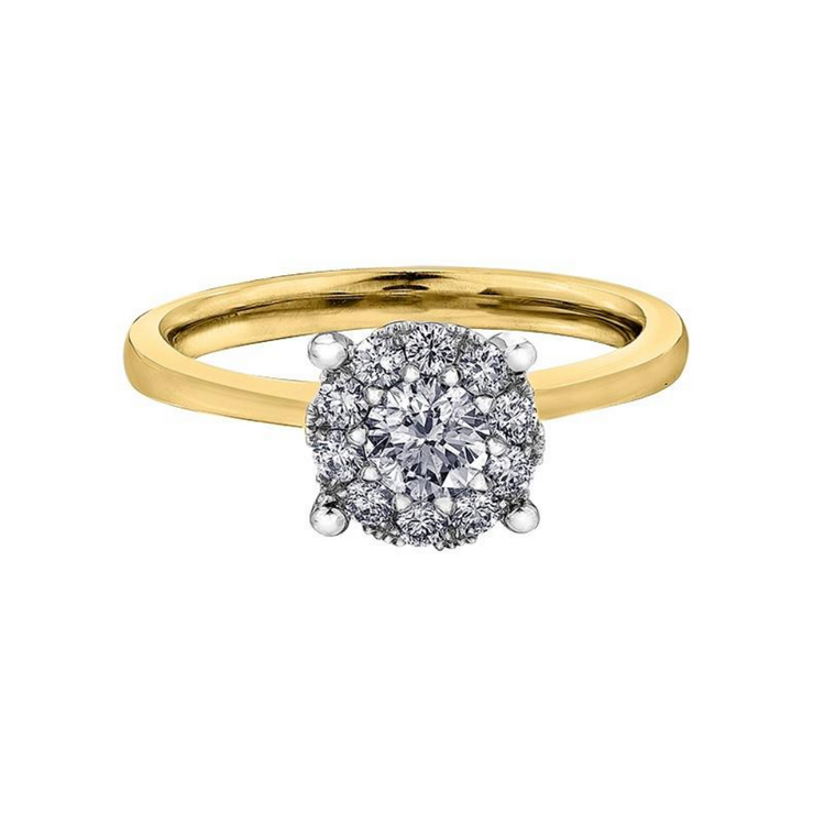 18ct Yellow Gold Halo Diamond 0.37ct Engagement Ring