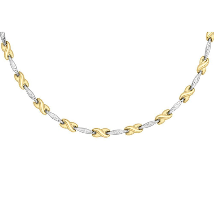 9ct Gold Two-Tone Diamond Cut Kiss Necklace