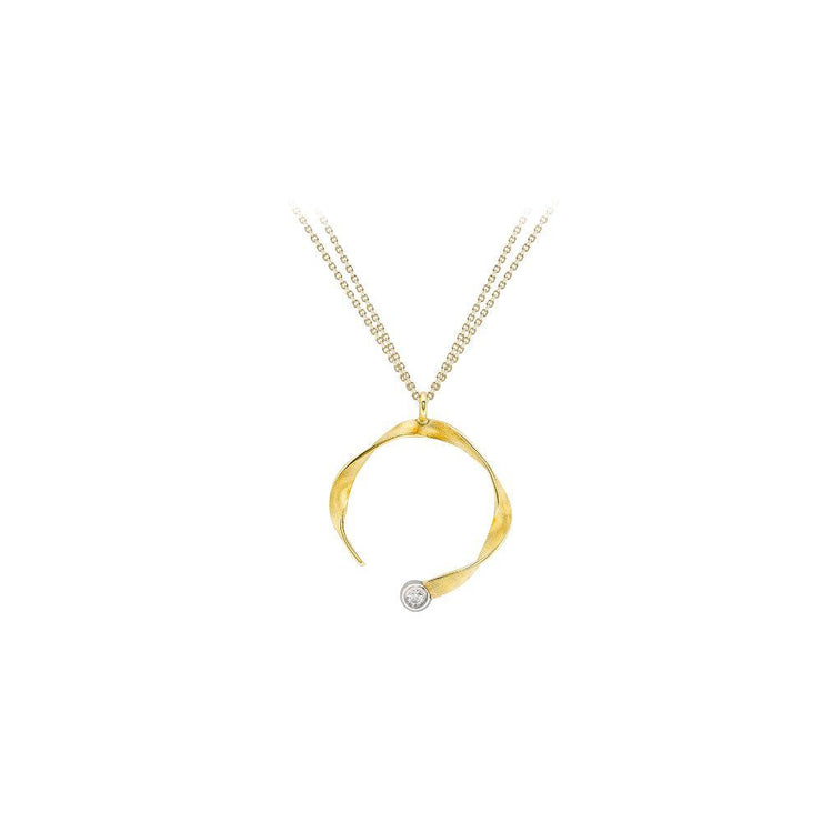 9ct Gold Ribbon CZ Necklace