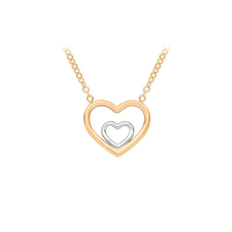 9ct Gold Two-Tone Double Heart Necklace