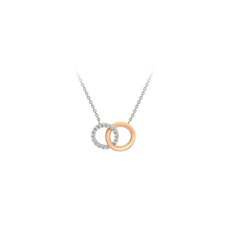9ct White Gold Double Circle Necklace