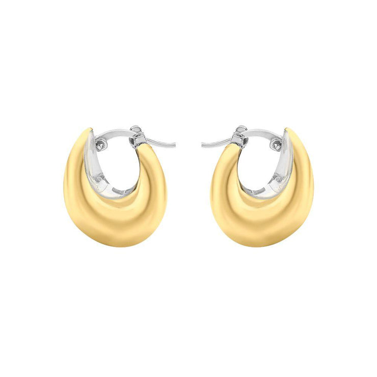 9ct Gold Two-Tone Hinged Earrings