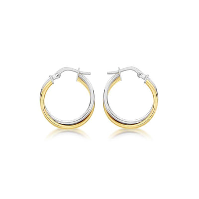 9ct Gold Two-Tone Twist Hoop Earrings