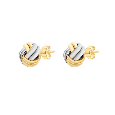 9ct Gold Two-Tone Knot Earrings